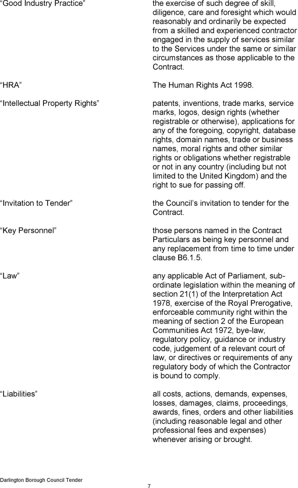 Intellectual Property Rights Invitation to Tender Key Personnel Law Liabilities patents, inventions, trade marks, service marks, logos, design rights (whether registrable or otherwise), applications