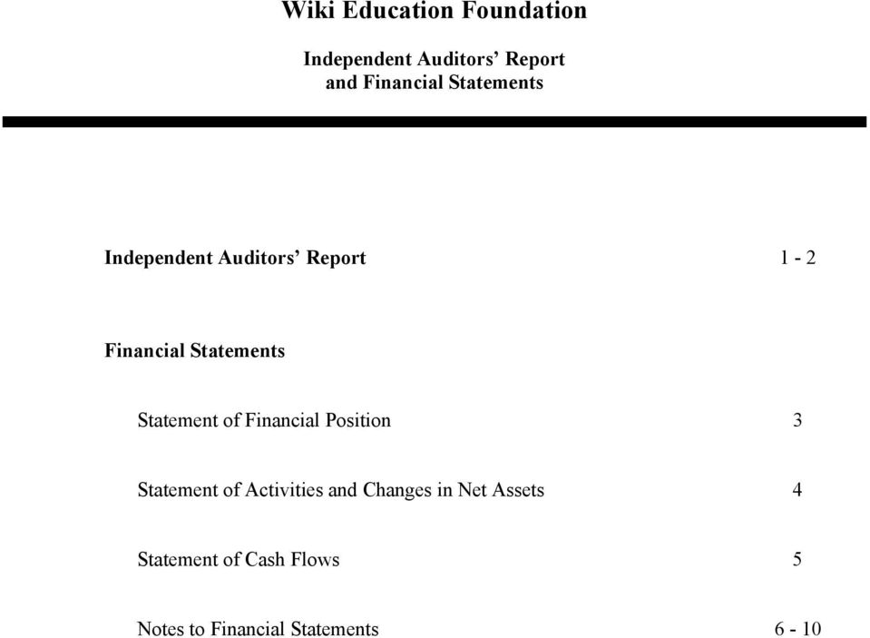 of Financial Position 3 Statement of Activities and Changes in