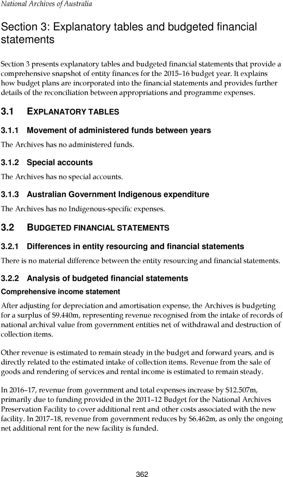 1 EXPLANATORY TABLES 3.1.1 Movement of administered funds between years The Archives has no administered funds. 3.1.2 Special accounts The Archives has no special accounts. 3.1.3 Australian Government Indigenous expenditure The Archives has no Indigenous-specific expenses.