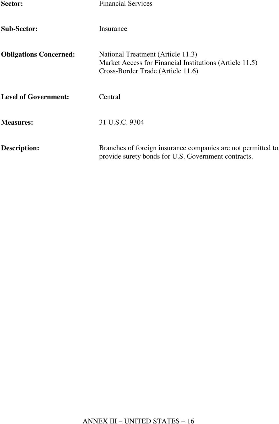 5) Cross-Border Trade (Article 11.6) Measures: 31 U.S.C. 9304 Branches of