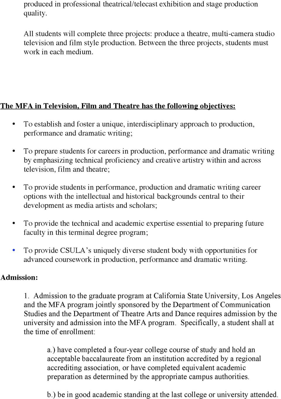 Gpa How To Calculate The Mfa In Television, Film And Theatre Has The  Following Objectives: To Establish And