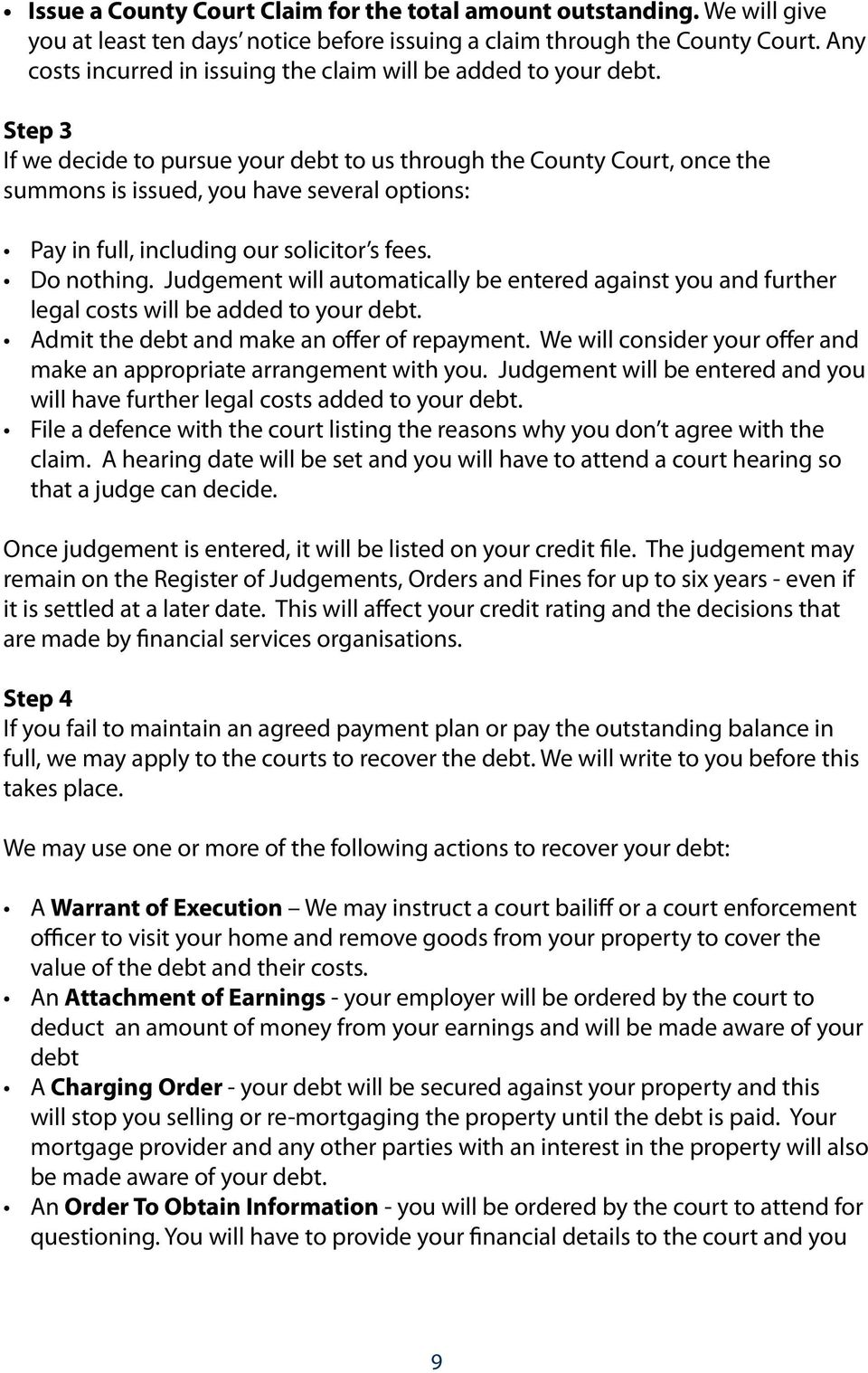 Step 3 If we decide to pursue your debt to us through the County Court, once the summons is issued, you have several options: Pay in full, including our solicitor s fees. Do nothing.