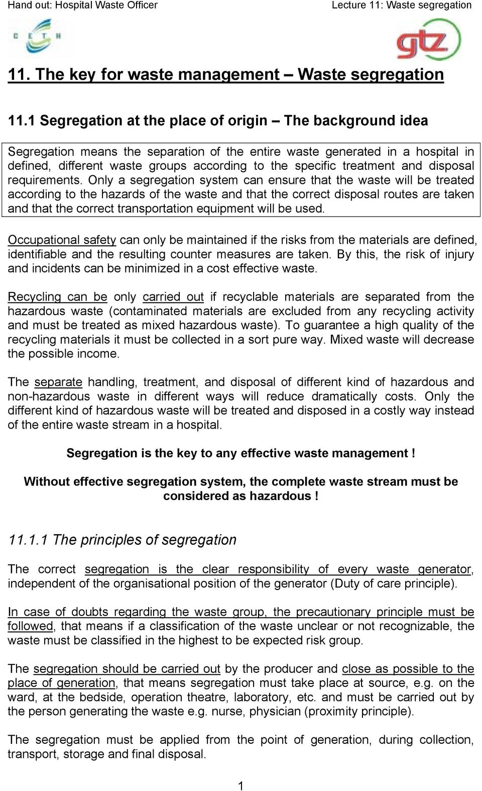 treatment and disposal requirements.