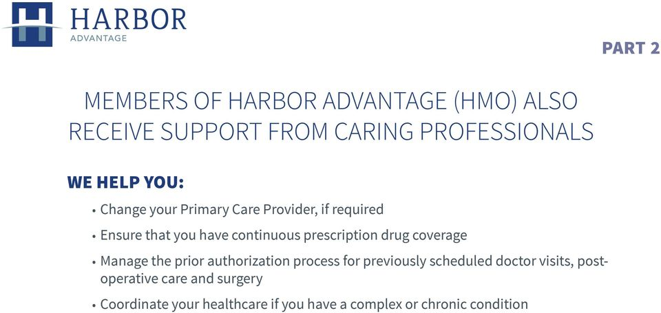 drug coverage Manage the prior authorization process for previously scheduled doctor visits,