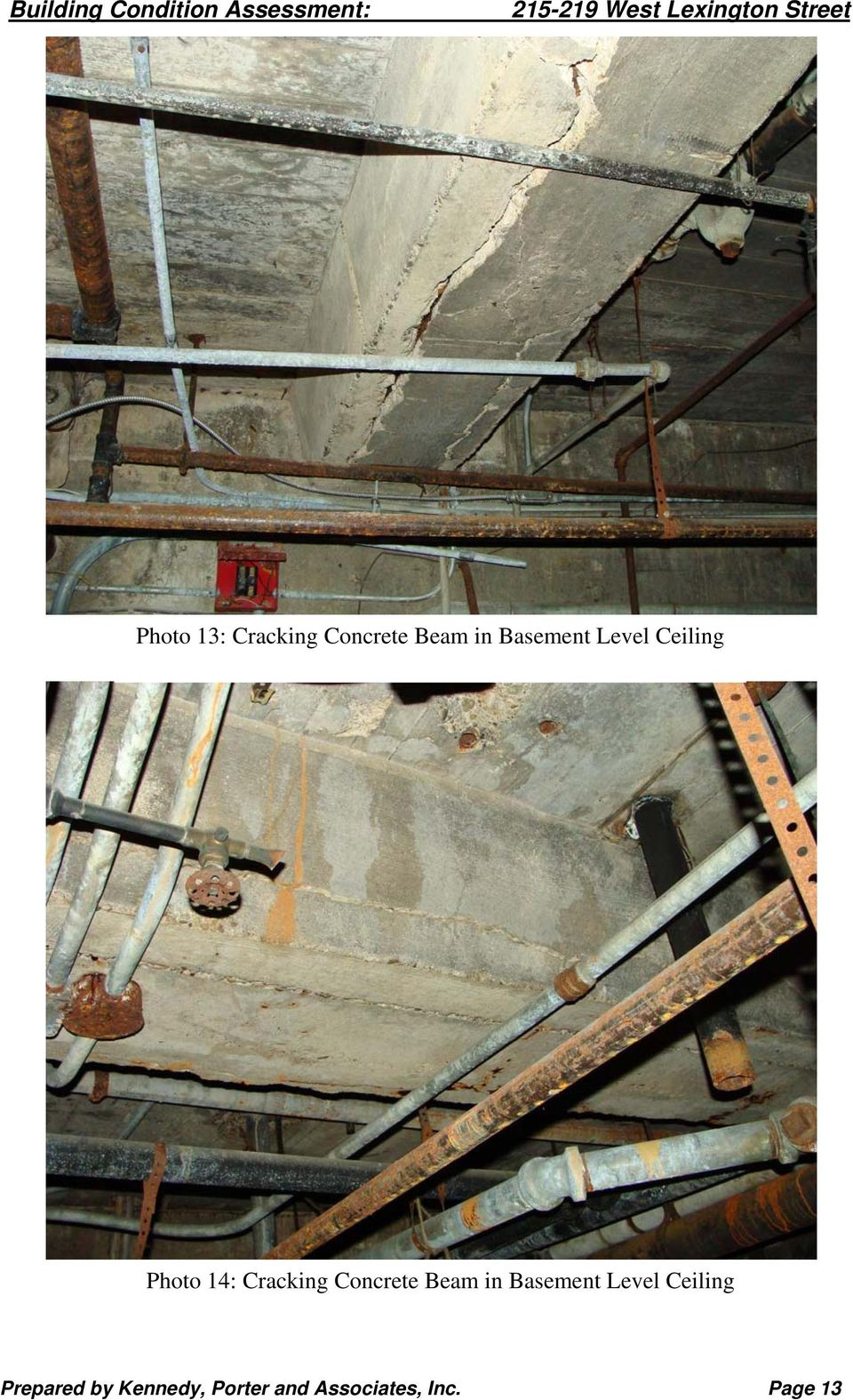 Concrete Beam in Basement Level Ceiling