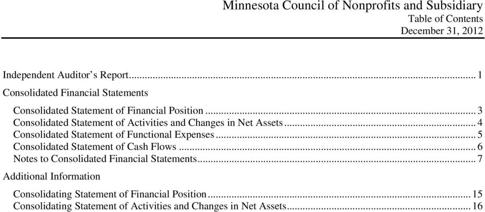 .. 3 Consolidated Statement of Activities and Changes in Net Assets... 4 Consolidated Statement of Functional Expenses.