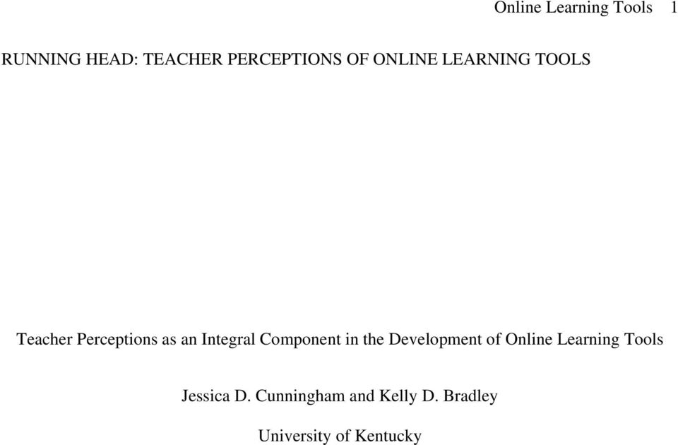 Component in the Development of Online Learning Tools
