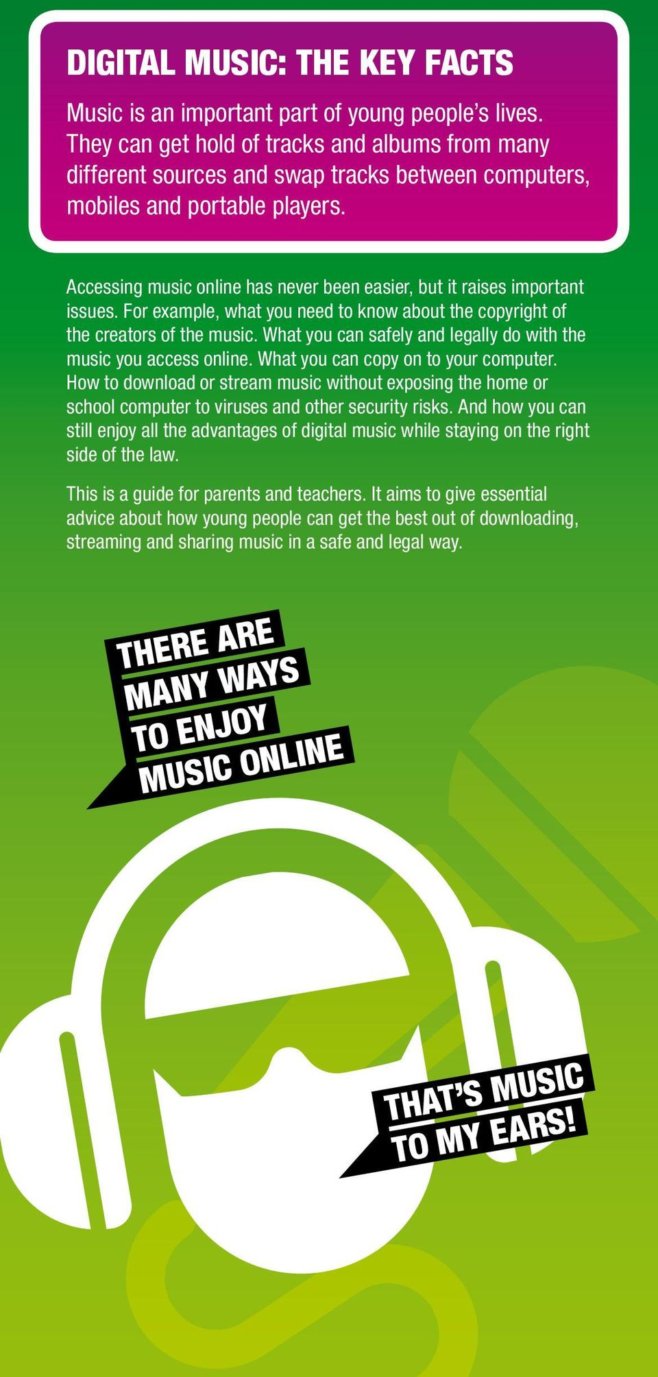 Accessing music online has never been easier, but it raises important issues. For example, what you need to know about the copyright of the creators of the music.