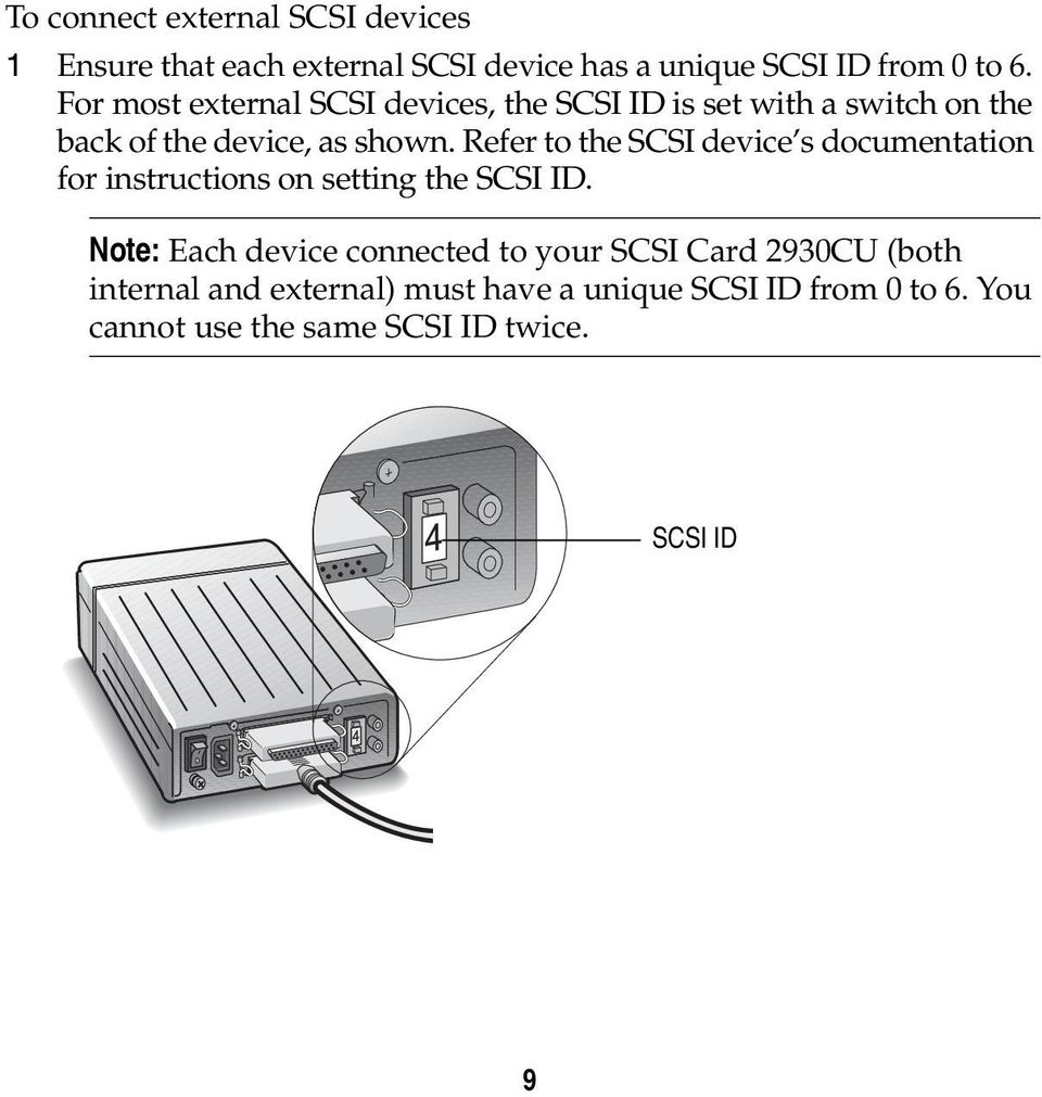 Refer to the SCSI device s documentation for instructions on setting the SCSI ID.