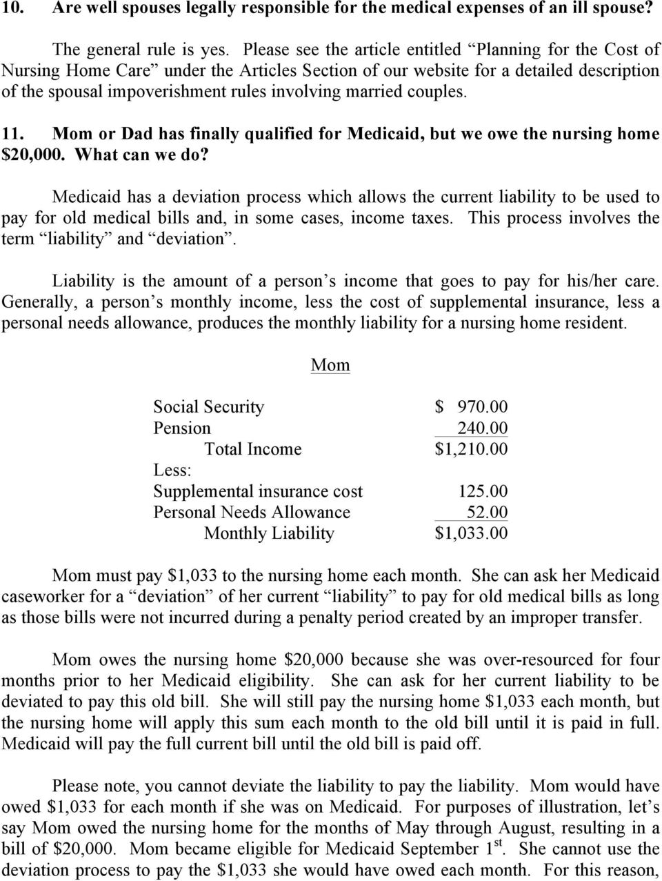 couples. 11. Mom or Dad has finally qualified for Medicaid, but we owe the nursing home $20,000. What can we do?