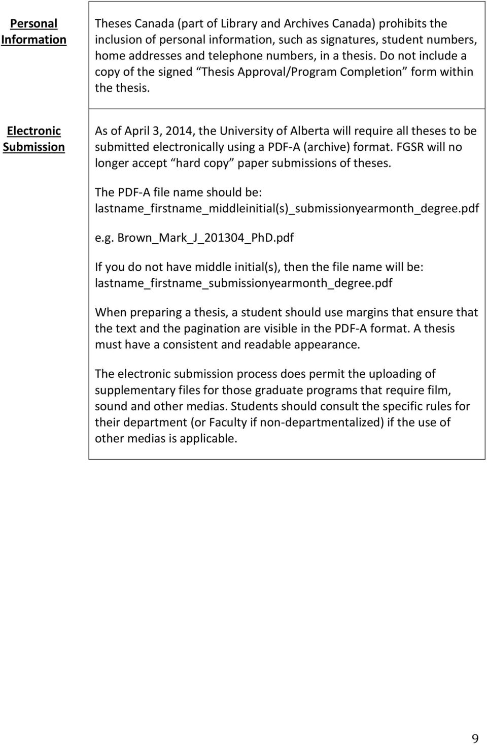 Electronic Submission As of April 3, 2014, the University of Alberta will require all theses to be submitted electronically using a PDF-A (archive) format.