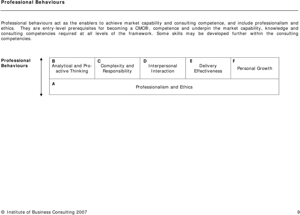 of the framework. Some skills may be developed further within the consulting competencies.