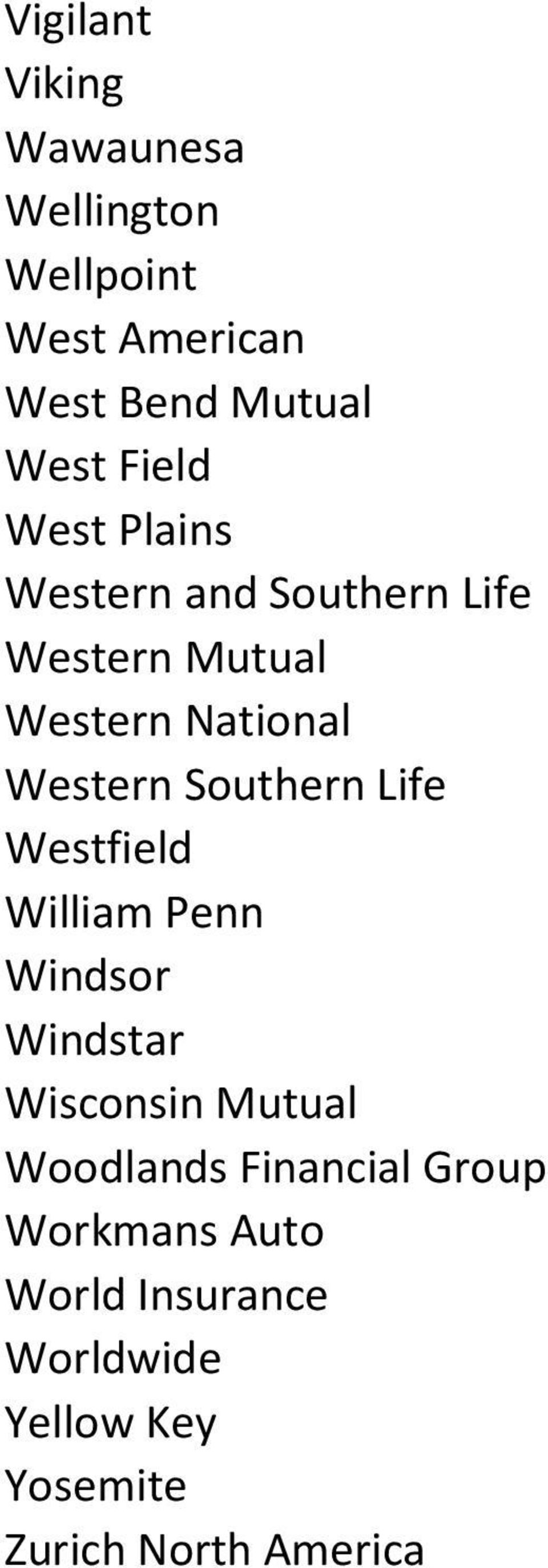 Southern Life Westfield William Penn Windsor Windstar Wisconsin Mutual Woodlands