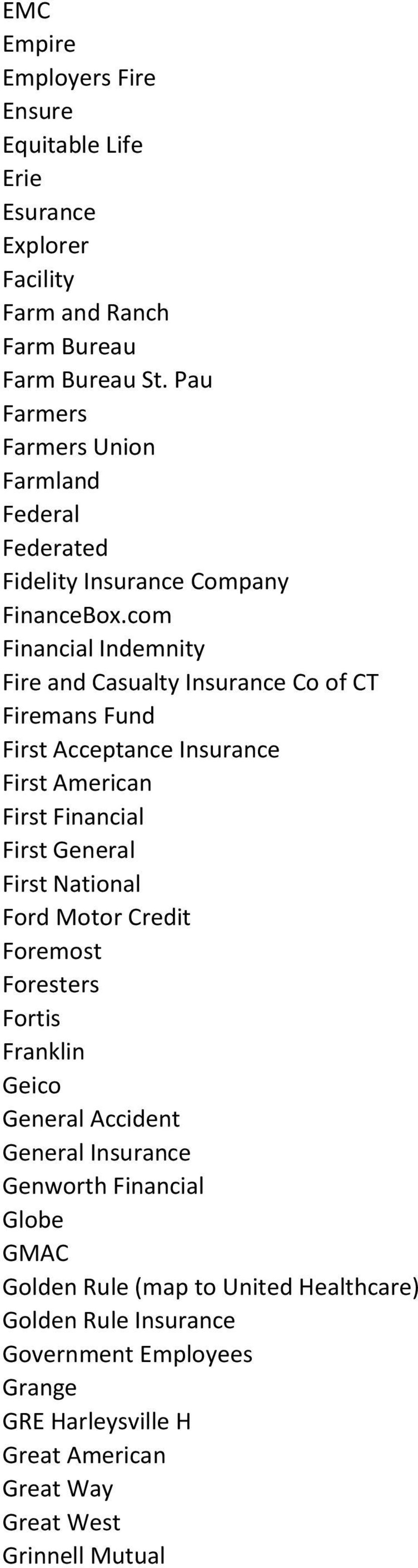 com Financial Indemnity Fire and Casualty Insurance Co of CT Firemans Fund First Acceptance Insurance First American First Financial First General First National