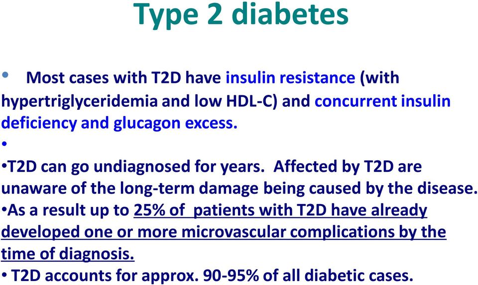 Affected by T2D are unaware of the long-term damage being caused by the disease.