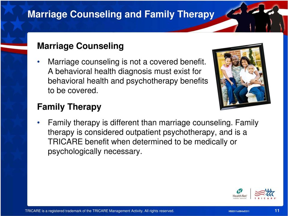 Family Therapy Family therapy is different than marriage counseling.