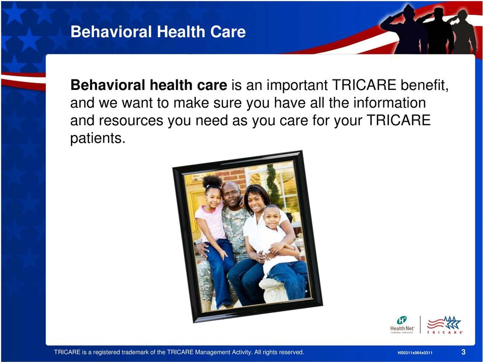 resources you need as you care for your TRICARE patients.