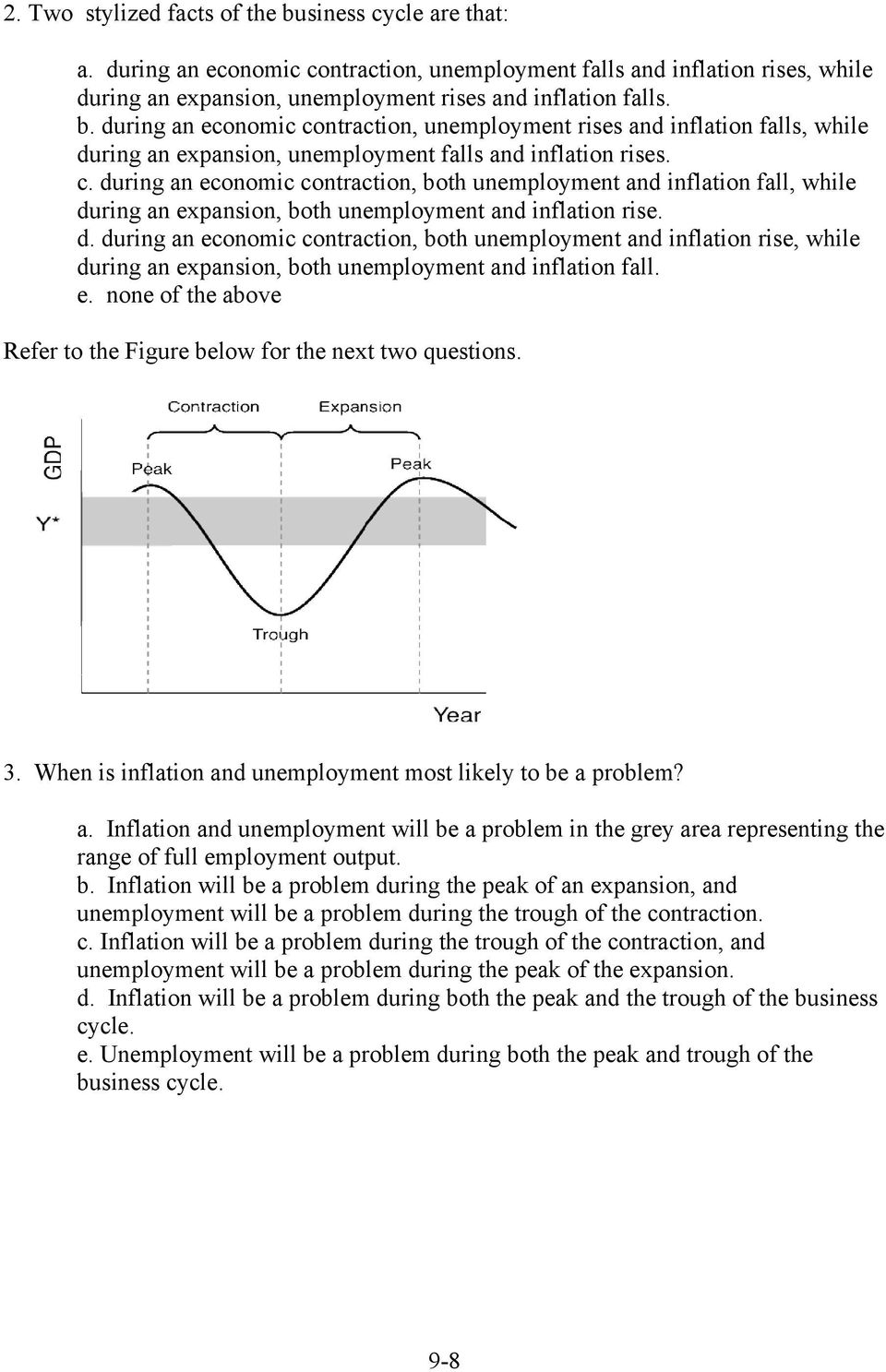 e. none of the above Refer to the Figure below for the next two questions. 3. When is inflation and unemployment most likely to be a problem? a. Inflation and unemployment will be a problem in the grey area representing the range of full employment output.