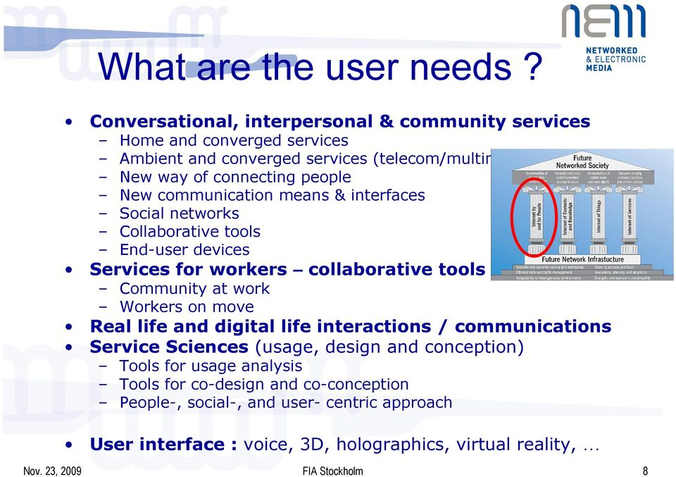 New communication means & interfaces Social networks Collaborative tools End-user devices Services for workers collaborative tools Community at work Workers on
