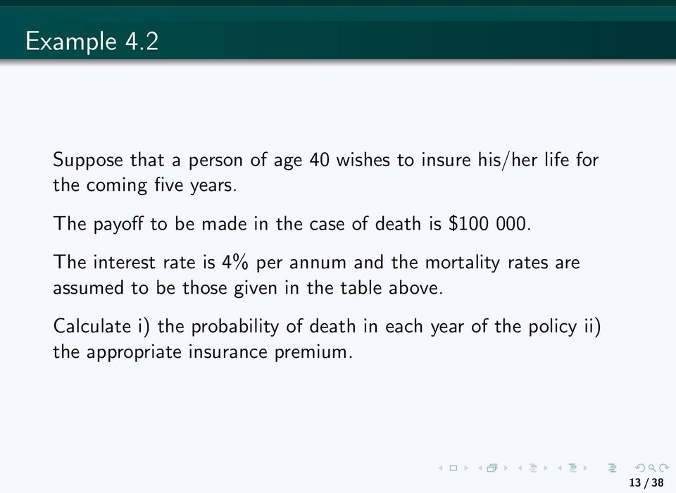 The payoff to be made in the case of death is $100 000.