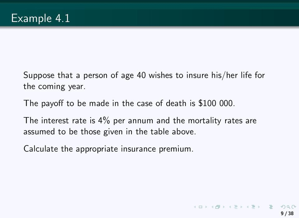 coming year. The payoff to be made in the case of death is $100 000.