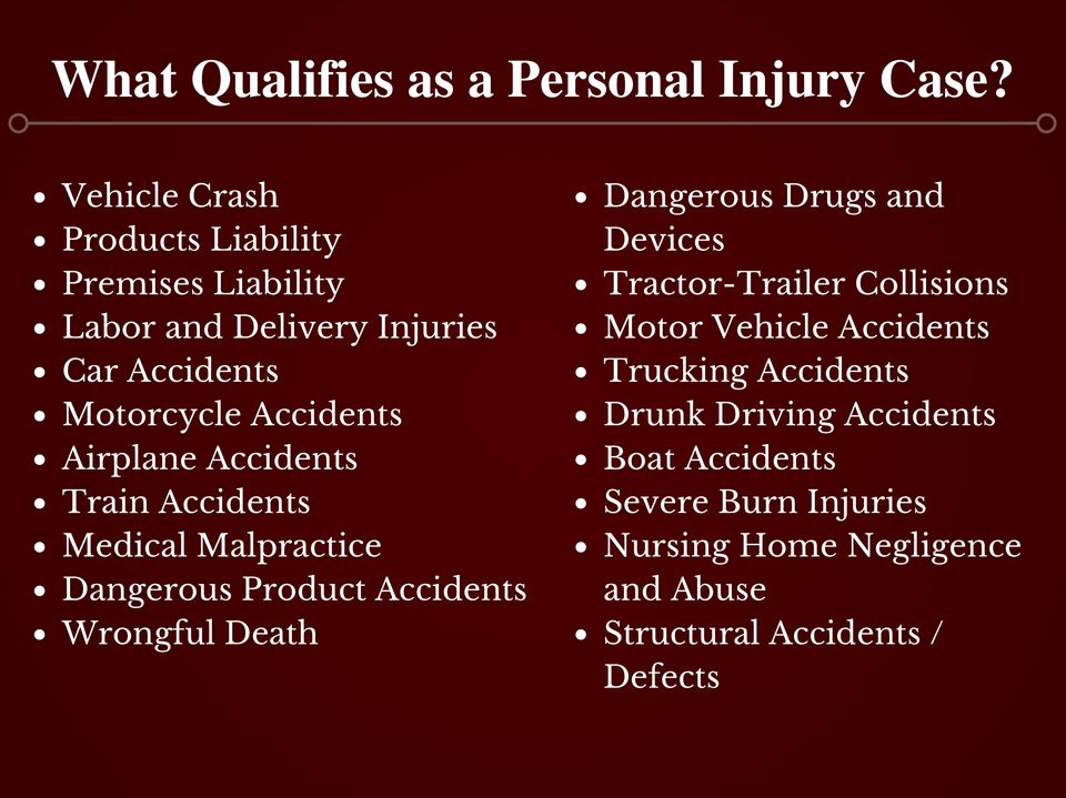 Airplane Accidents Train Accidents Medical Malpractice Dangerous Product Accidents Wrongful Death Dangerous Drugs and