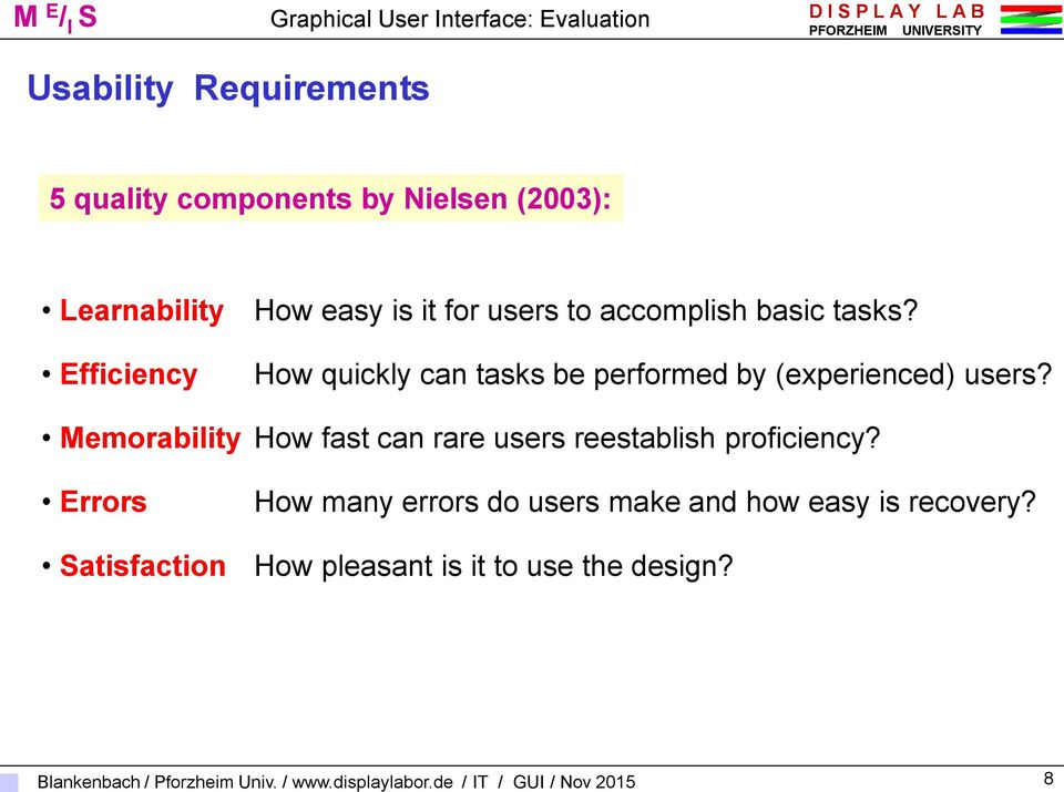 Efficiency How quickly can tasks be performed by (experienced) users?