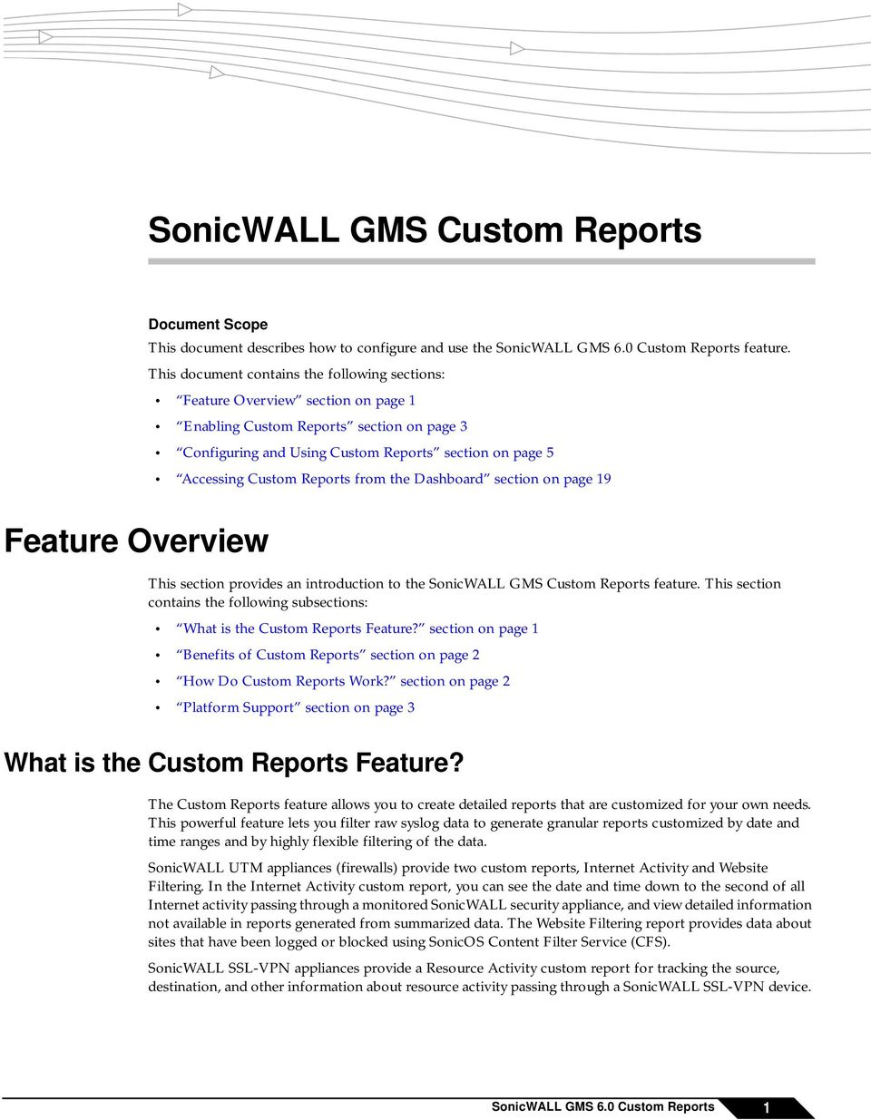 Reports from the Dashboard section on page 19 Feature Overview This section provides an introduction to the SonicWALL GMS Custom Reports feature.