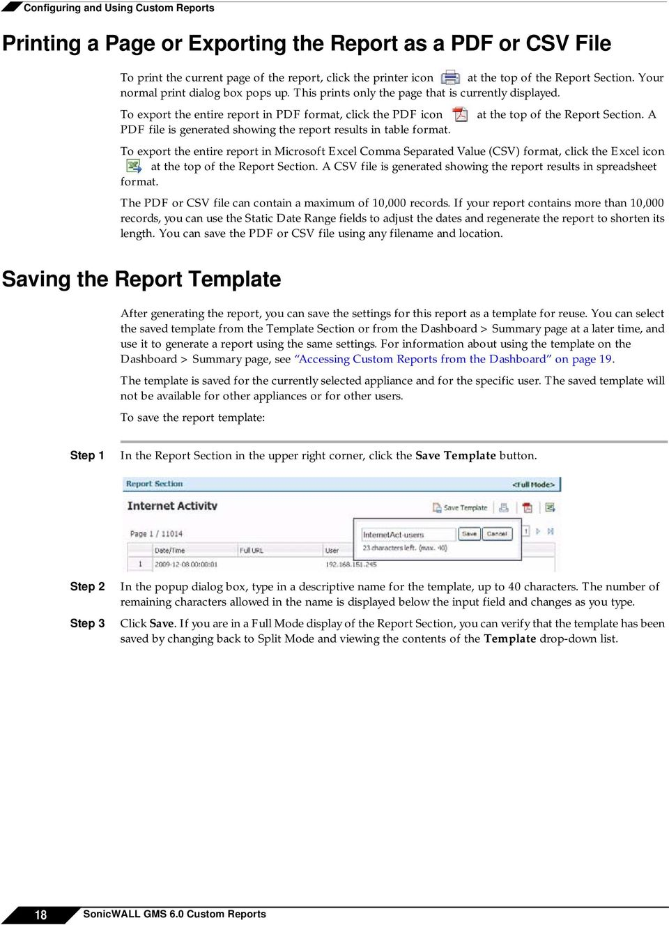 A PDF file is generated showing the report results in table format.