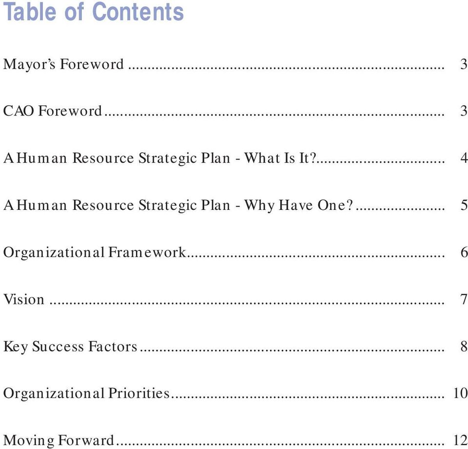 ... 4 A Human Resource Strategic Plan - Why Have One?