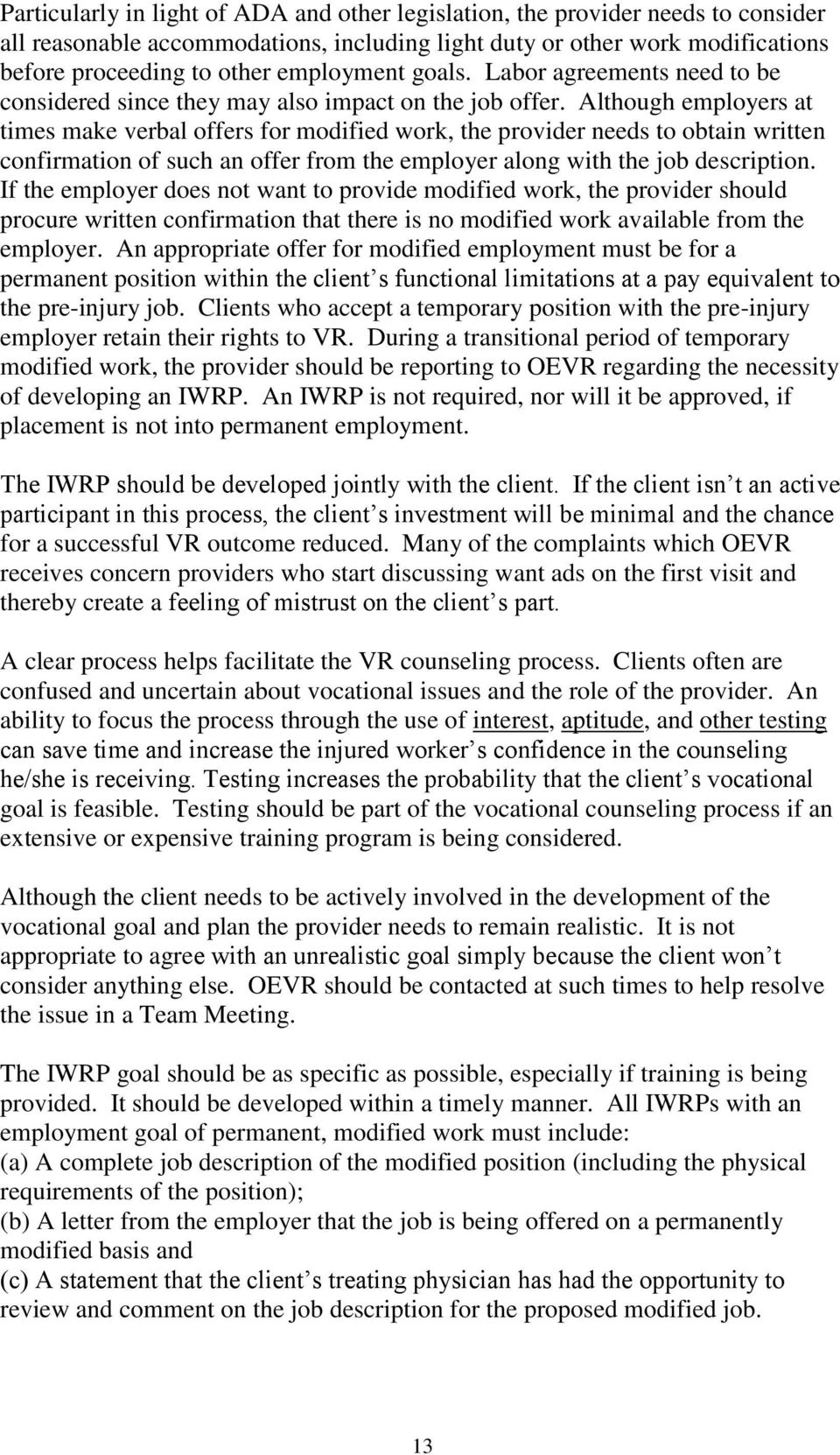 1 oevr guidelines for certified vocational rehabilitation although employers at times make verbal offers for modified work the provider needs to obtain xflitez Image collections
