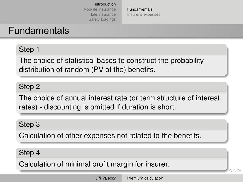 Step 2 The choice of annual interest rate (or term structure of interest rates) - discounting is