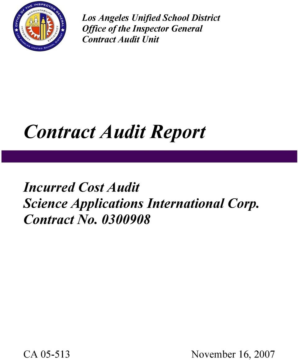 Report Incurred Cost Audit Science Applications