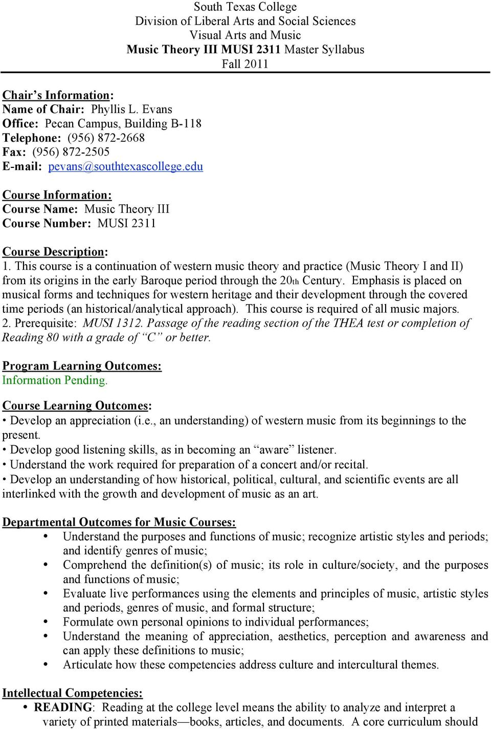 Syllabus Fall 2011 Course Description: 1.