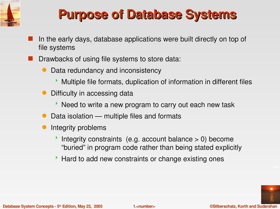 data Need to write a new program to carry out each new task Data isolation multiple files and formats Integrity problems Integrity constraints