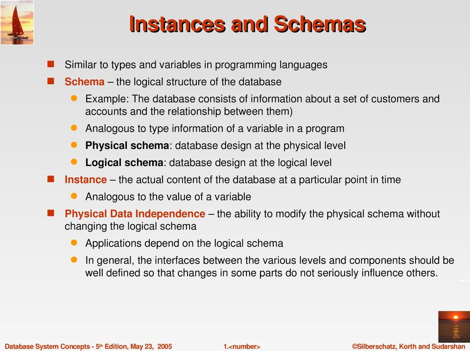 logical level Instance the actual content of the database at a particular point in time Analogous to the value of a variable Physical Data Independence the ability to modify the physical schema