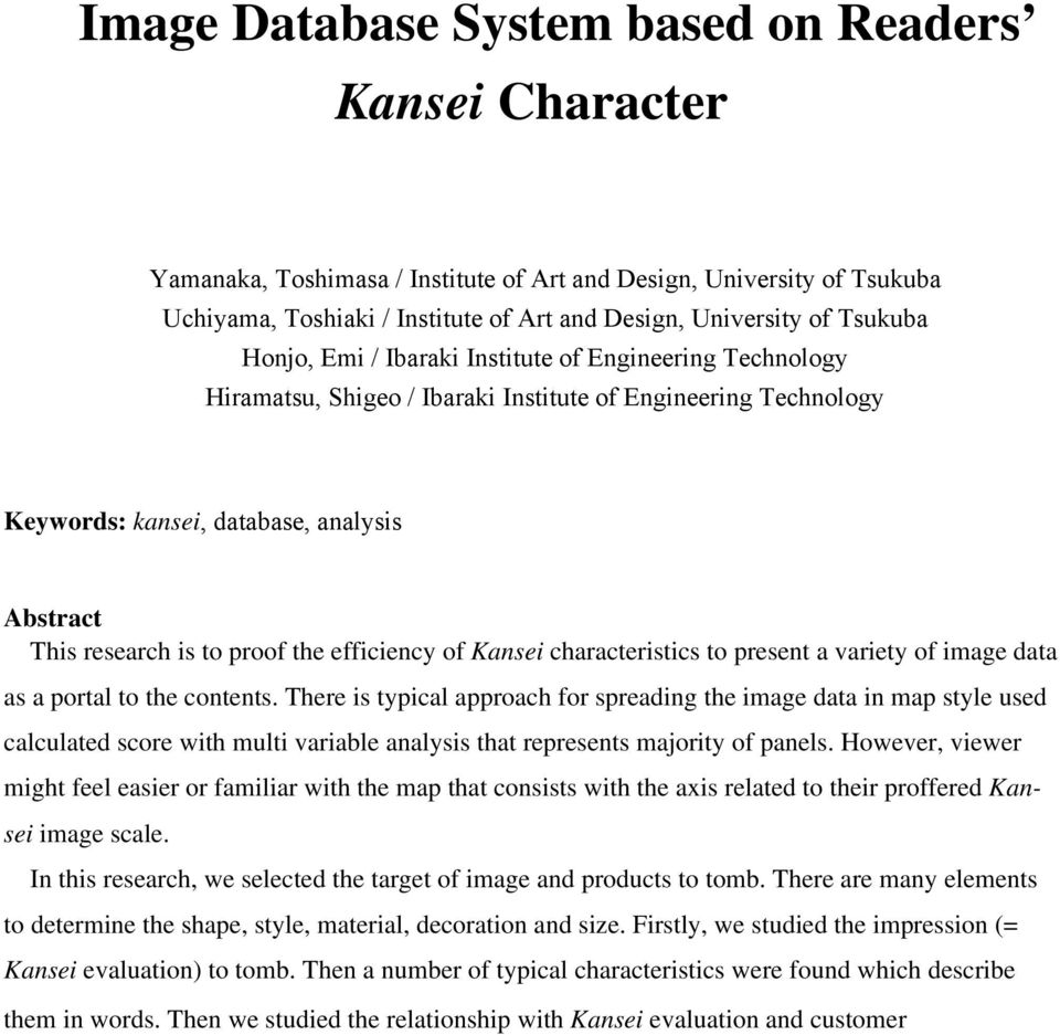 proof the efficiency of Kansei characteristics to present a variety of image data as a portal to the contents.