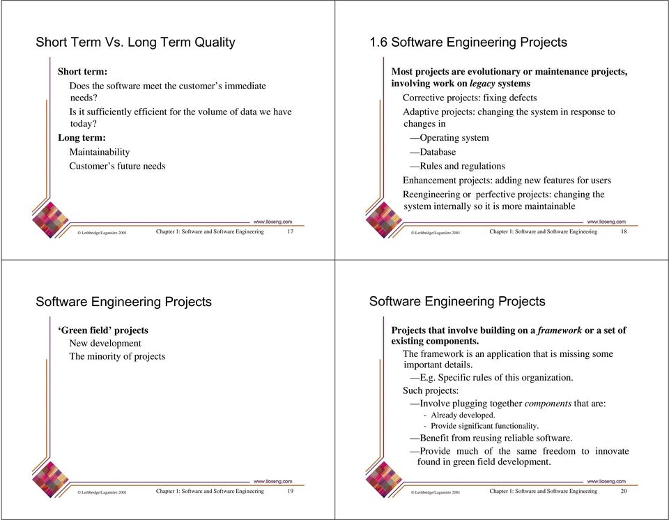 6 Software Engineering Projects Most projects are evolutionary or maintenance projects, involving work on legacy systems Corrective projects: fixing defects Adaptive projects: changing the system in