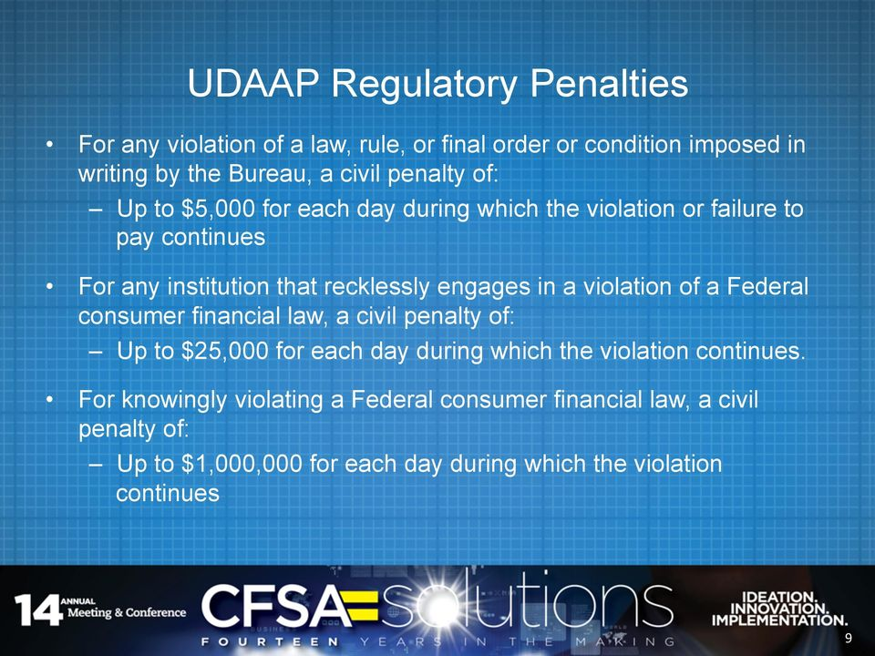 in a violation of a Federal consumer financial law, a civil penalty of: Up to $25,000 for each day during which the violation continues.