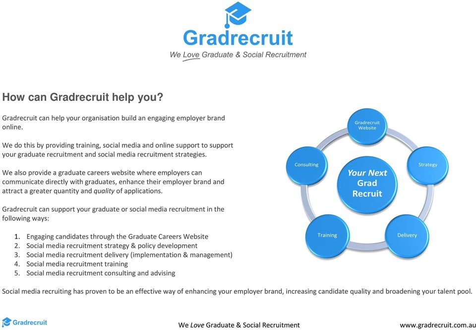 We also provide a graduate careers website where employers can communicate directly with graduates, enhance their employer brand and attract a greater quantity and quality of applications.