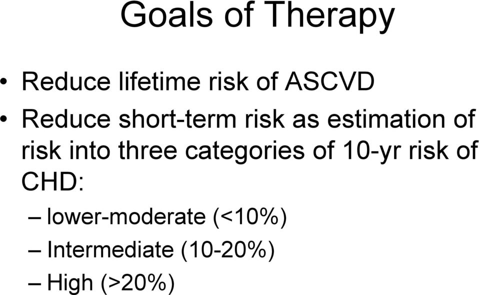 into three categories of 10-yr risk of CHD: