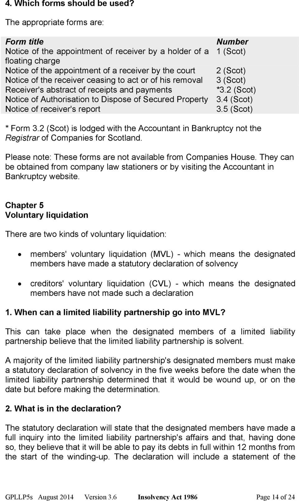 the receiver ceasing to act or of his removal 3 (Scot) Receiver's abstract of receipts and payments *3.2 (Scot) Notice of Authorisation to Dispose of Secured Property 3.