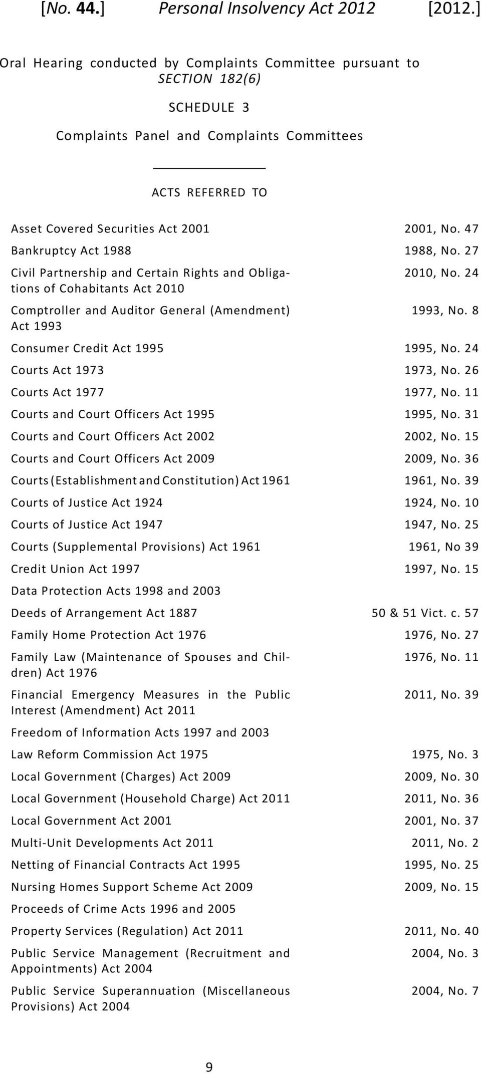 Court Officers Act 1995 Courts and Court Officers Act 2002 Courts and Court Officers Act 2009 Courts(EstablishmentandConstitution)Act1961 Courts of Justice Act 1924 Courts of Justice Act 1947 Courts