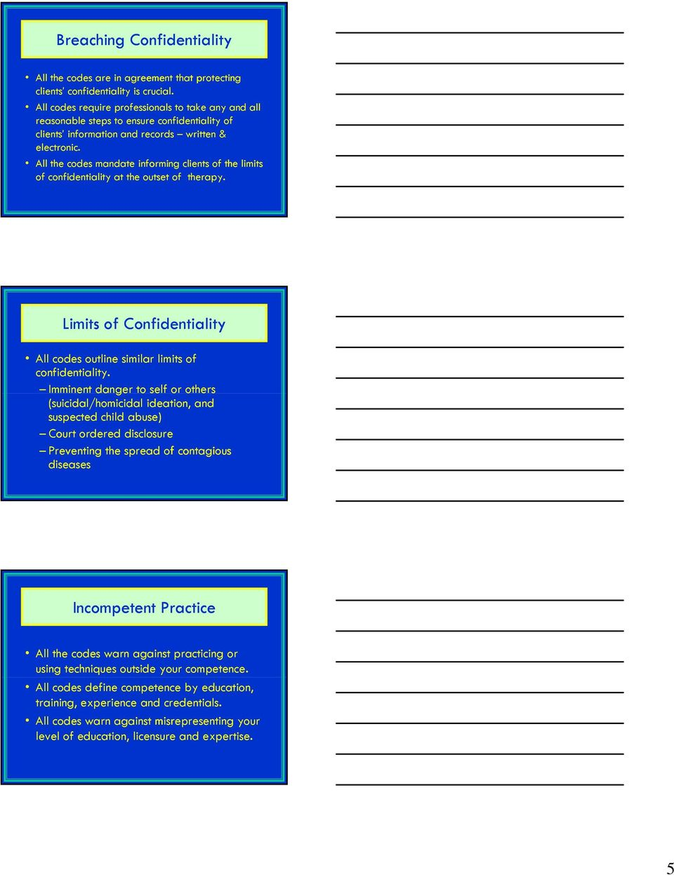 All the codes mandate informing clients of the limits of confidentiality at the outset of therapy. Limits of Confidentiality All codes outline similar limits of confidentiality.