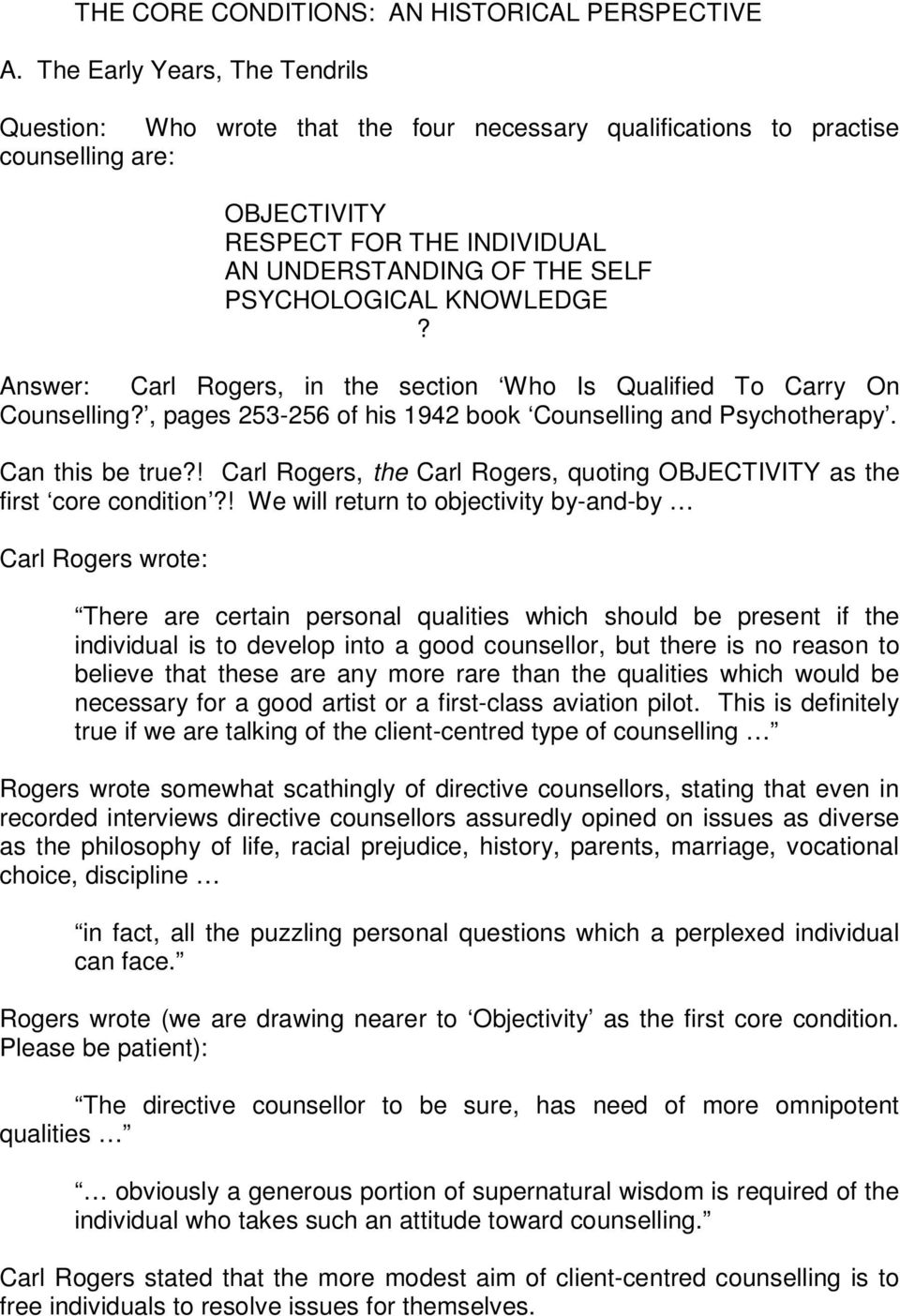 carl rogers conditions