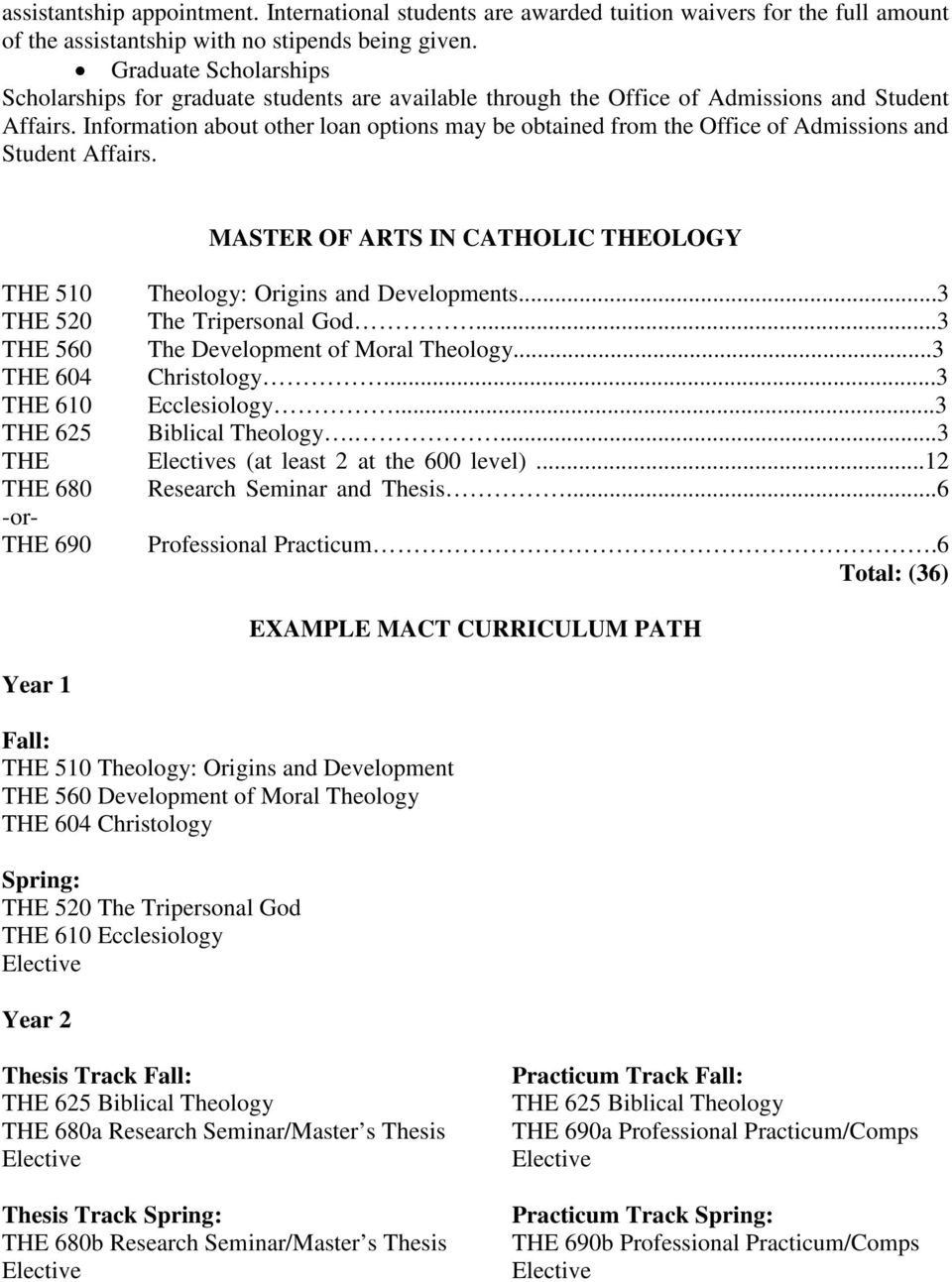 Information about other loan options may be obtained from the Office of Admissions and Student Affairs. MASTER OF ARTS IN CATHOLIC THEOLOGY THE 510 Theology: Origins and Developments.