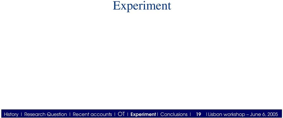 Experiment Conclusions 19