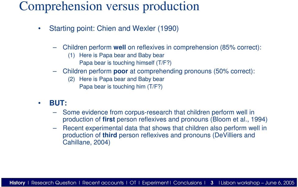 ) BUT: Some evidence from corpus-research that children perform well in production of first person reflexives and pronouns (Bloom et al.