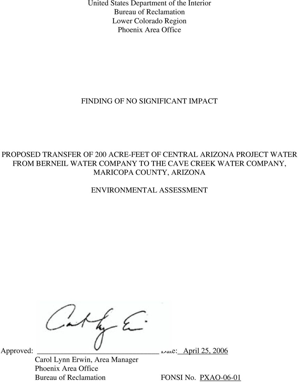 BERNEIL WATER COMPANY TO THE CAVE CREEK WATER COMPANY, MARICOPA COUNTY, ARIZONA ENVIRONMENTAL ASSESSMENT