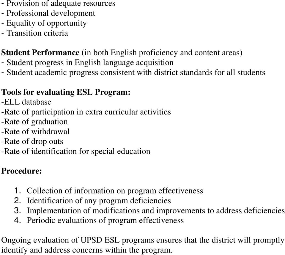 activities -Rate of graduation -Rate of withdrawal -Rate of drop outs -Rate of identification for special education Procedure: 1. Collection of information on program effectiveness 2.